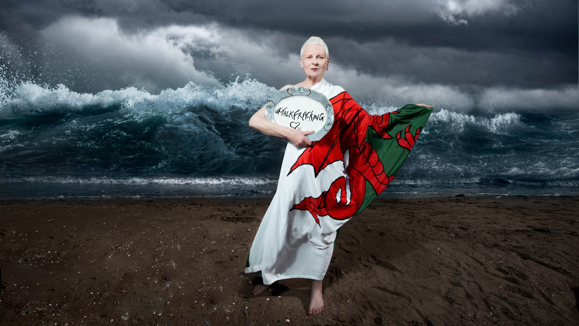 Vivienne Westwood June 2014 on the beach in Swansea for Talk Fracking